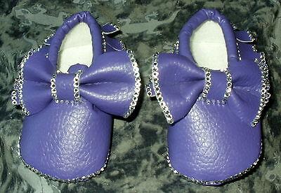 Baxter's. Romaní Bling Patucos Bebé/Zapatos. Morado Con Cristal Bling 0-6 meses