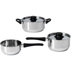 Ikea 5 Piece Cookware Set Glass Stainless Steel Sauce Pan