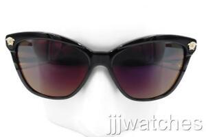 32d96b5a8b New Versace Cat Eye Black Sunglasses Gray Red Mirrored Lens VE4313A ...