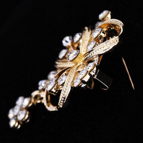Vintage Flower Shape Shiny Crystal Brooch Pin For Clothing Denim Jacket Hat D