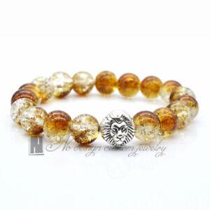 75023332862 Tiger Eye Lion Head Bracelet Bangle Buddha Bead Charm Brown Crystal ...