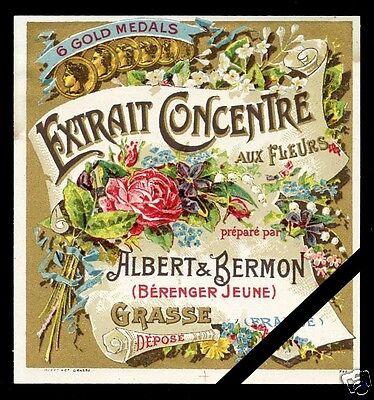 Vintage Perfume Soap Label: French Art Nouveau Aux Fleurs - Albert & Bermon