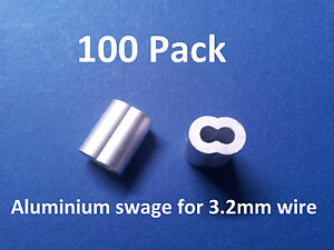 100-X-SWAGE-ALUMINIUM-for-3-0-to-3-2mm-Stainless-rope-BALUSTRADE-CLAMP-FERRULE