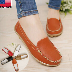 Women-Casual-Leather-Slip-On-Comfort-Shoes-Moccasin-Oxfords-Loafers-Flat-Shoes