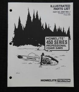 Image Is Loading Homelite Model 450 450hg 450sl Chainsaw Parts List