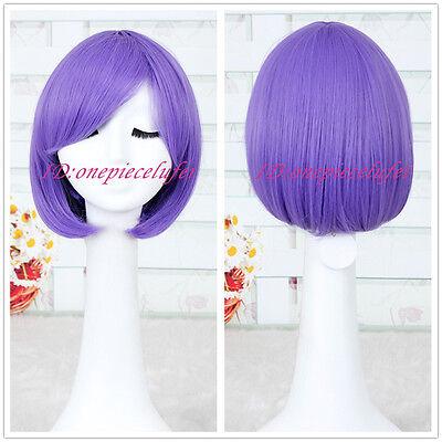 CLANNAD Fujibayashi Ryou short Purple Straight COSPLAY wig Lolita Bob wig CC19E