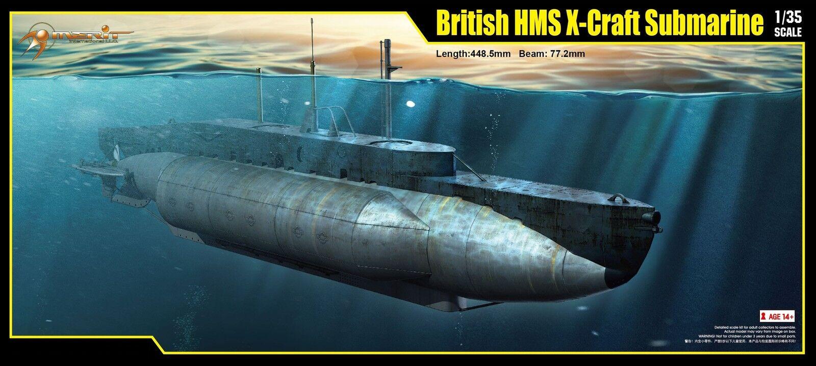 SOUS-MARIN BRITANNIQUE HMS X-CRAFT, WW2 - kit MERIT INTERNATIONAL 1 35 n° 63504