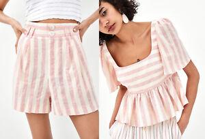 a003a7214b Zara SS18 SET Stripe Linen Bermuda Shorts Flounce Top Blouse Pink ...