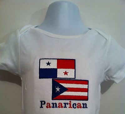 Mexirican Baby Bodysuit Embroidered* Mexico /& Puerto Rico Flag