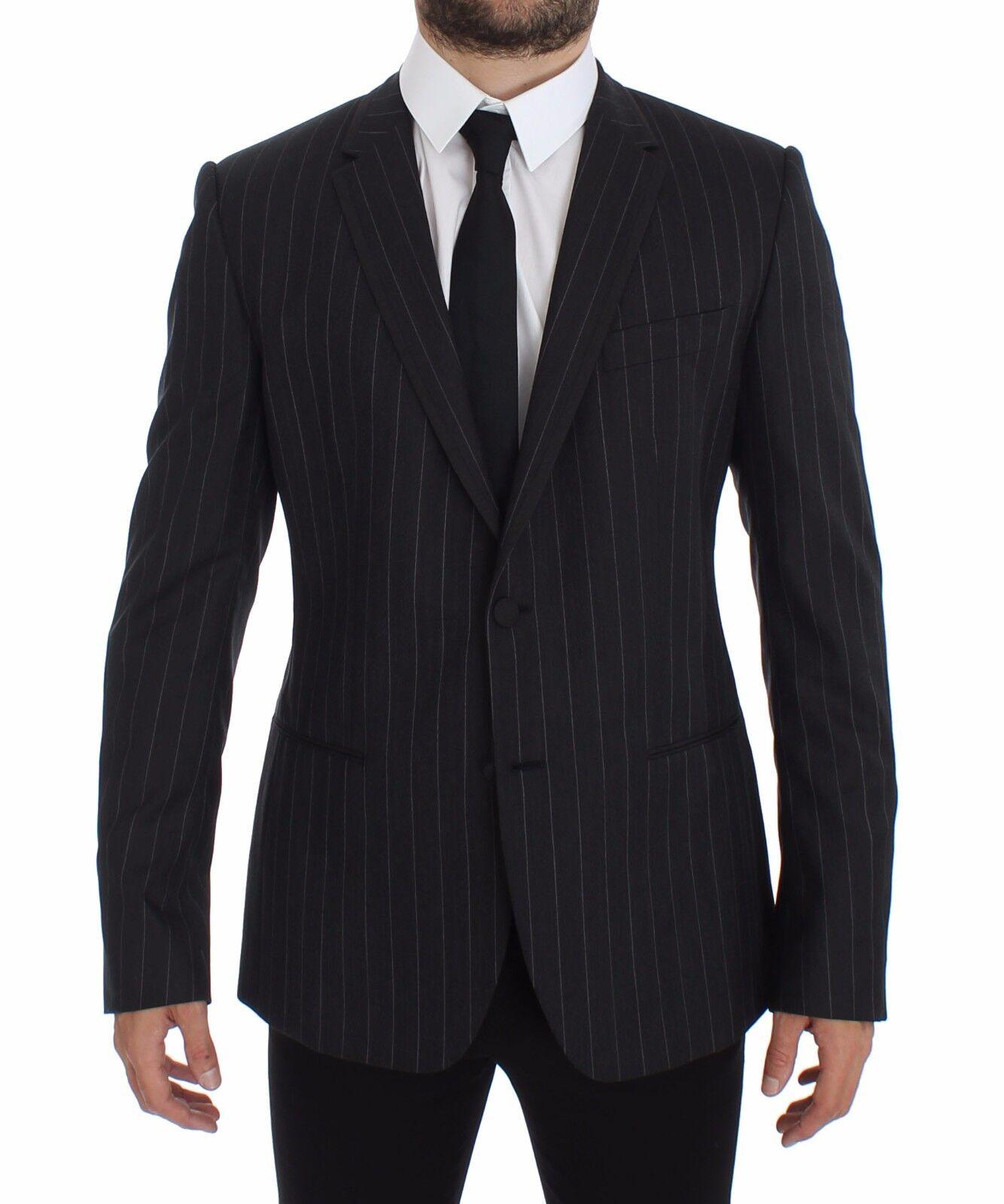 NWT 1800 DOLCE & GABBANA grau Striped Slim Fit Wool Blazer Coat IT50 / US40 / L