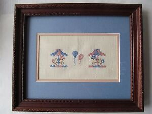 Merry-Go-Round-Carousel-Wall-Art-Framed-Matted-Cross-Stitch-Baby-Pink-amp-Blue