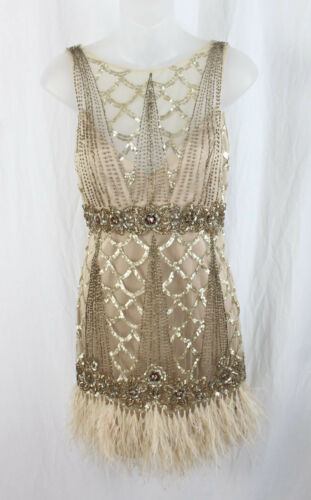 Sue Wong Nocturne Beige Beaded Sequin Ostrich Feat