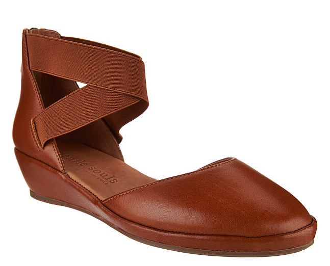 Gentle Souls Leather Leather Leather Two Piece Wedges - Noa Medium Marronee Donna  5.5 dfe1a1