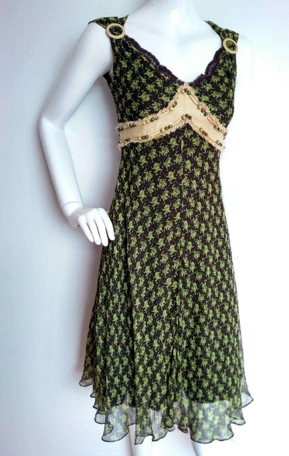 Designer RONIT ZILKHA frog print silk dress size 8 --BRAND NEW-- knee length