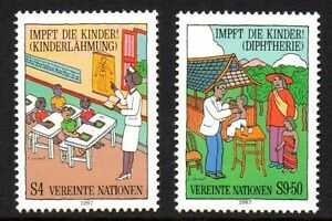 """UN Vienna - 1987 Vaccination for children Mi. 77-78 MNH - Enschede, Nederland - UN Vienna - 1987 Vaccination for children Mi. 77-78 MNH Click the button below to view more UN lots from our extensive offerings. After clicking select """"UN"""" in the blue side-bar on the left. Our lots start at just €0,25 Combine up  - Enschede, Nederland"""