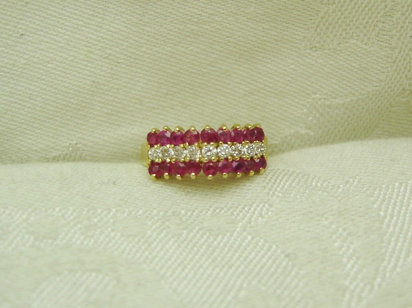 14K Solid Yellow gold RUBY & DIAMOND RING SIZE 5 3 4 JULY BIRTHSTONE N10-K