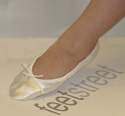 Ivory/off Blanco Satén zapatos de ballet Completa suela de gamuza, Tamaños CHILDS 8 To Adult 9