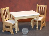 Dollhouse Miniature White Oak Kitchen Table & Chairs Set 1:12 One Inch Scale F6b