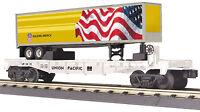 Mth Railking O Trains 2015 Up Union Pacific Flat Car W' 40' Trailer 30-76584