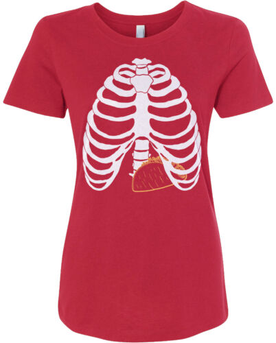 Taco Skeleton Rib Cage Halloween Costume Women/'s Fitted T-Shirt