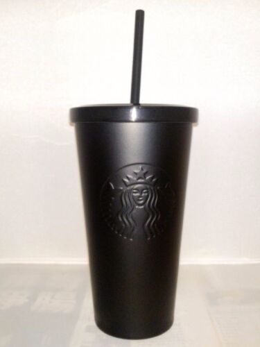 Starbucks Stainless Steel Cold Cup Matte Black 16 Fl Oz rare 2014 Coffee straw a