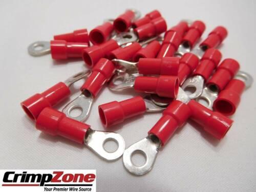 RED 25 PCS Vinyl 22-18 GA #6 Ring Terminals MADE IN USA
