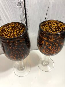 Lot-2-Animal-Cougar-Print-Leopard-Clear-Stem-Heavy-Wine-Water-Goblet-Cup-Glass