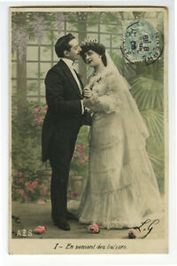 c 1910 French Glamour BEAUTIFUL BRIDE Marriage Pretty Lady photo postcard