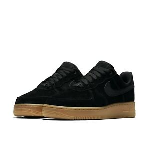 Nike Womens Wmns Air Force 1 07 SE Black Gum Med Brown Suede AF1 ... b0145ba895