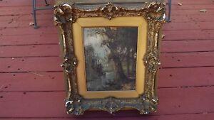 painting framed under glass landscape river trees Antique oil