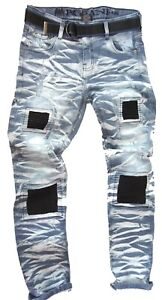 Mens-camouflage-jeans-Peviani-rock-star-denim-hip-hop-g-straight-fit-patches