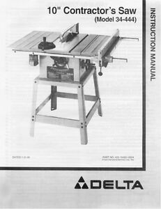 delta 34 444 10 contractors saw instruction manual ebay rh ebay com delta table saw manual 34-670 delta table saw manual 36-725