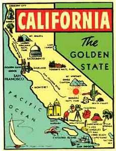 California Map Cartoon.California Map Vintage 1950 S Style Travel Sticker Decal Sticker Ebay