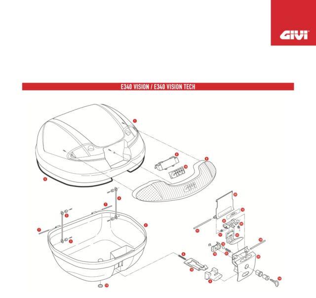 Z647R REPLACEMENT disc spring TORSION for GIVI TRUNK E340 VISON / TECH