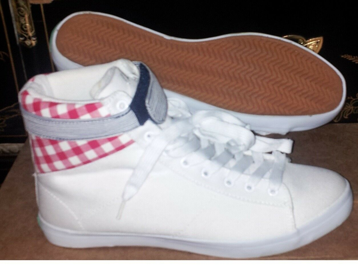 NEW KEEP Colonway GUERRA White w/Red Gingham Hi Top Shoes Sz 7