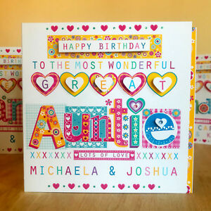 Image Is Loading Great Auntie Birthday Card Personalised And Very Special