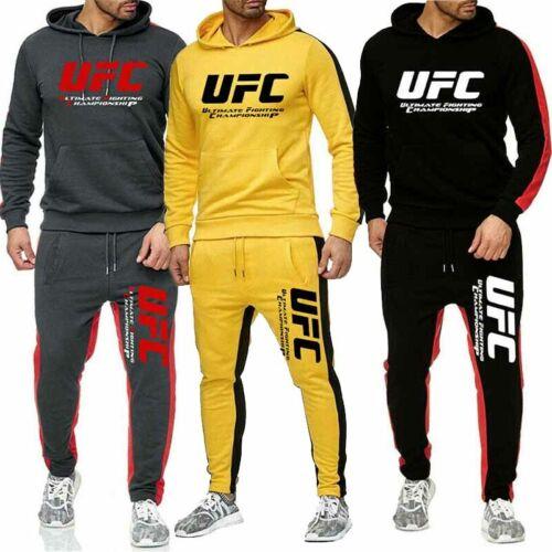 UFC Men Full Tracksuit Set Hoodie Sweatshirt Jogger Bottoms Sportwear Activewear