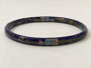 Deep-Blue-Cloisonne-Bangle-Bracelet-Floral-Design-in-Gold-3-25-034-Dia