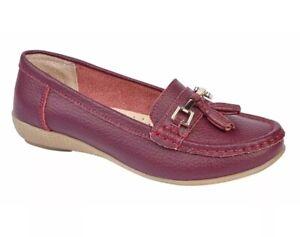 ladies jojoe genuine leather loafers slip on casual plum