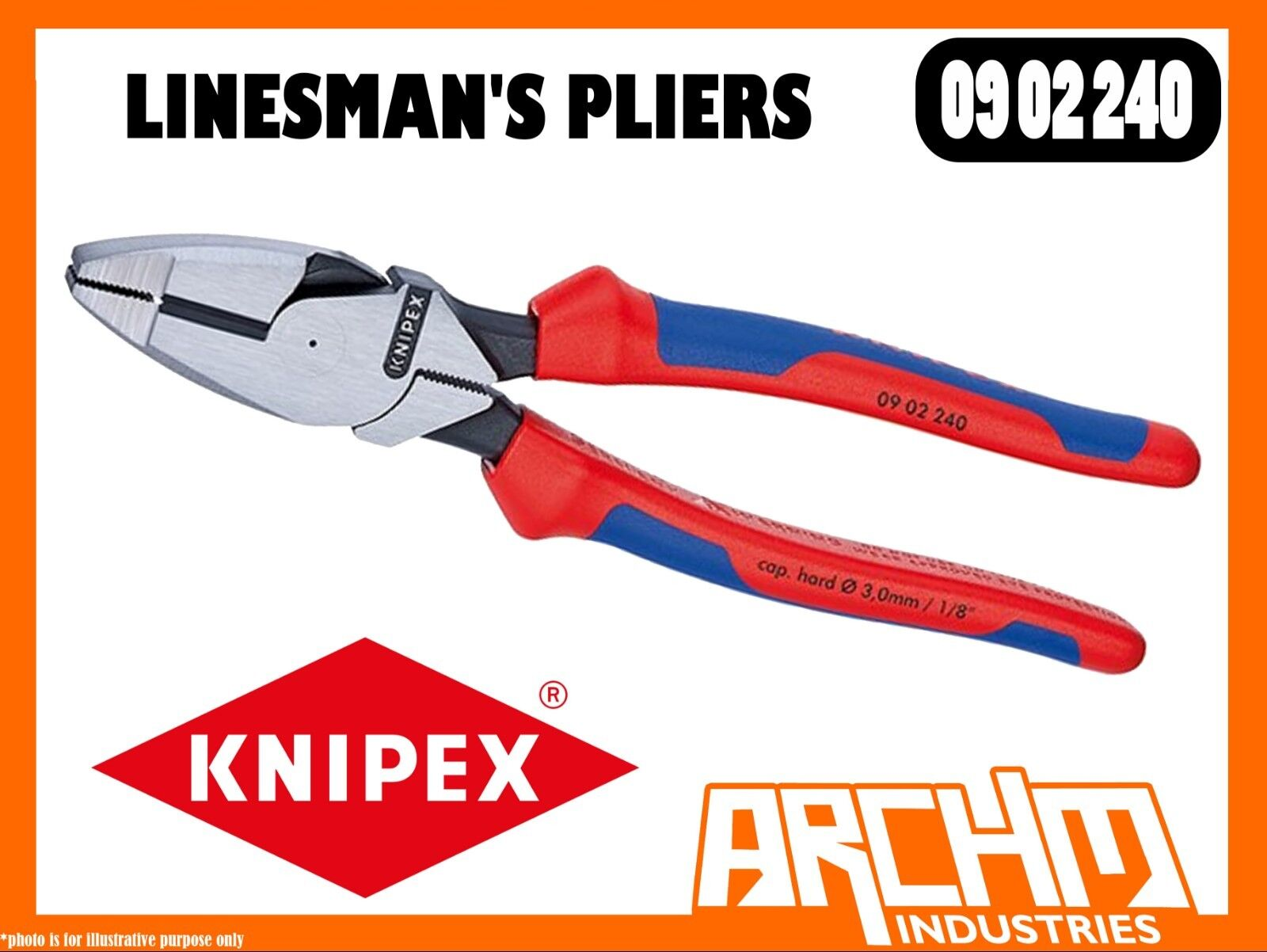KNIPEX 0902240 - LINESMAN'S PLIERS - 240MM CUTTING EDGE HIGH TRANSMISSION RATIO