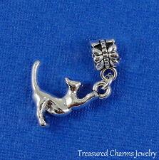 Silver STRETCHING CAT Dangle Bead CHARM 3D Kitty Cat fits EUROPEAN Bracelet