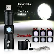 Mini CREE Q5 LED 1000 Lm USB Rechargeable Zoomable Focus Flashlight Torch