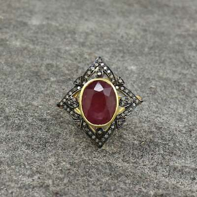 Victorian Style Ruby Diamond Ring In 925 Sterling Silver Pave Diamond Ring
