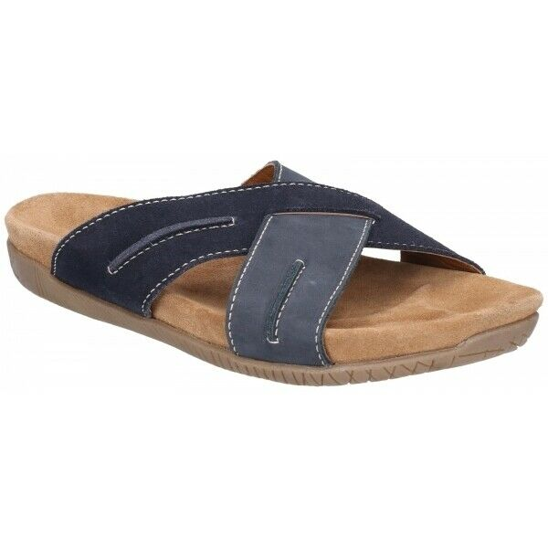 Hush Puppies GIZMO Mens Casual Criss-Cross Straps Leather Mule Sandals Navy bluee