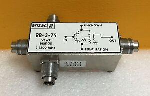 Anzac RB-3-75 3 to 1500 MHz, 75 ohm, GR 874 Connectors (All Ports), VSWR Bridge