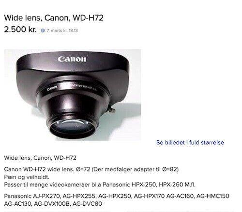 Videokameraer og -udstyr, Canon, canon. WD-H72