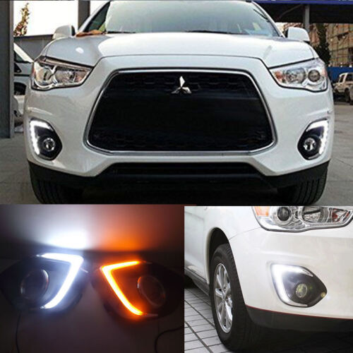 LED DRL Daytime Running Lights Fog Lamps For Mitsubishi ASX Outlander 2013-2015