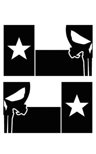 Set of 2 Texas Flag for LEFT RIGHT Side Vinyl Sticker Decal WHITE or BLACK V1