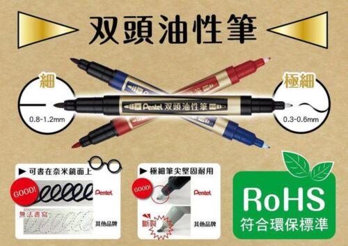 Pentel Double End Marker Extra Fine Line Pen Black Permanent Office Two Tip N75W