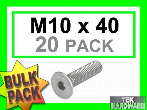 M10 x 40 20 pk socket caps Acier inoxydable fraisés Allen boulons